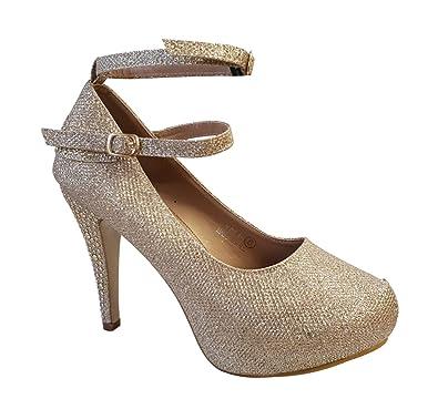 e594c6225c93c4 Tinsel Guirlande 0035 Neuf Femmes Sangles de Cheville Talon Aiguille Haut  Talon Cour Chaussures - Or