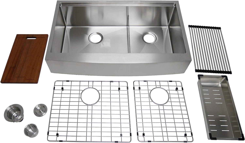 Auric Sinks 36 Retro-fit Farmhouse 6 Front Apron Low Divide Double 60 40 Ledge Bowl Stainless Steel Kitchen Sink, SCAL-TD-16-36-retro 6040