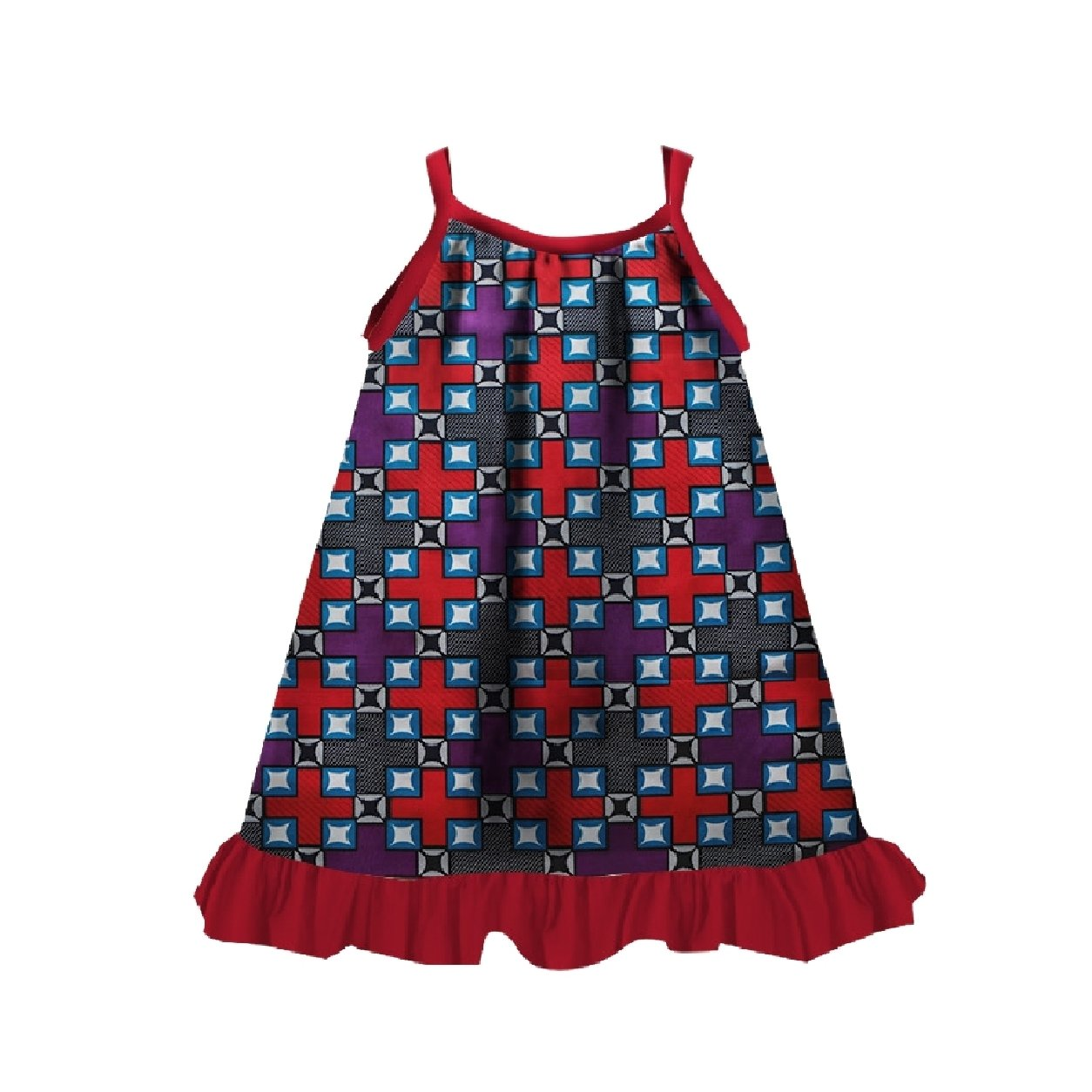 Zimaes Little Girls Casual Fine Cotton African Style Dashiki Dresses Red XS