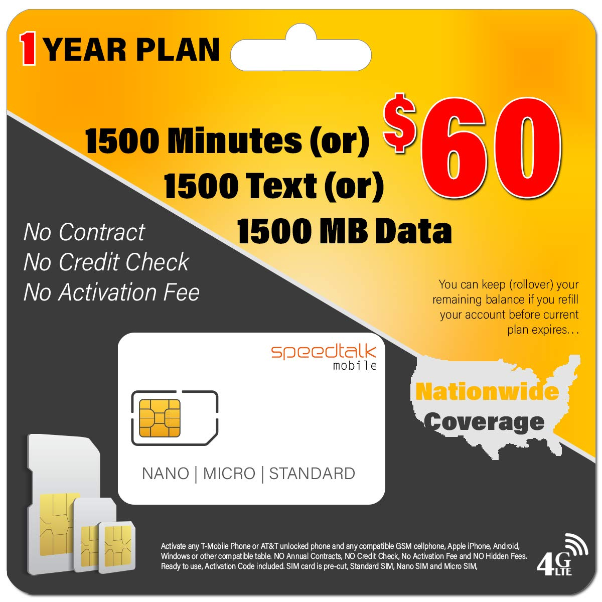 1 Year Service - $60 Preloaded GSM Mobile SIM Card - Rollover Plan - No Contract by Padfender