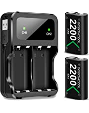 Xbox One Controller Akku, BEBONCOOL Xbox Controller Akku 2-Packs Wiederaufladbare 2200mAh Akku Mit Ladekabel, Dual Xbox Akku ladeatation für Xbox One S/Xbox One X/Xbox One Elite/Xbox One Controller