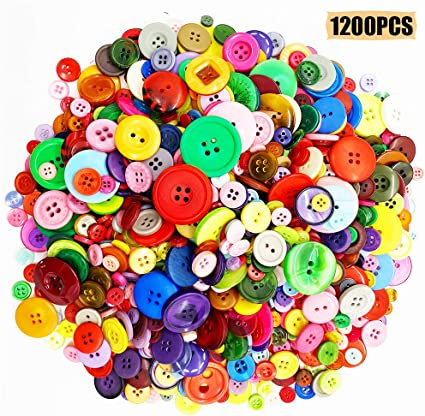 Tupalizy Metal Color Assorted Sizes and Shapes Resin Buttons for Sewing Mixed Colors Round Craft Buttons for Kids DIY Art Craft Project Manual Button Painting Classroom School Home Use 500PCS