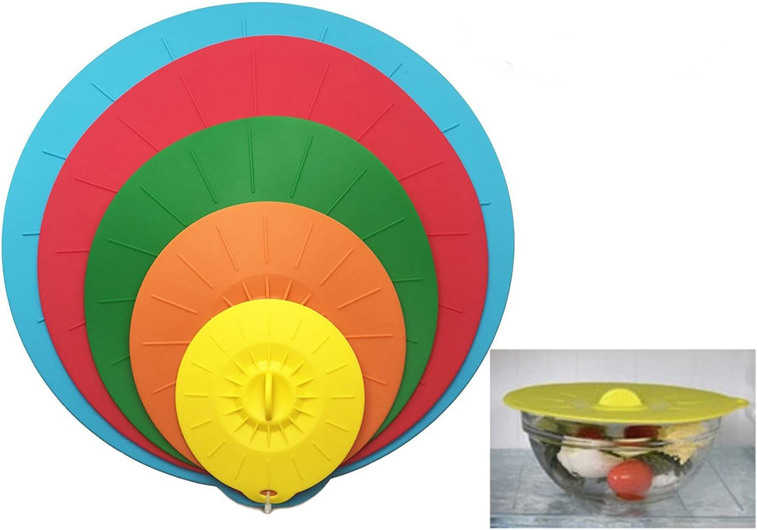 JJMG Food Grade Silicone Bowl Lids and Food Covers, Reusable Airtight Suction