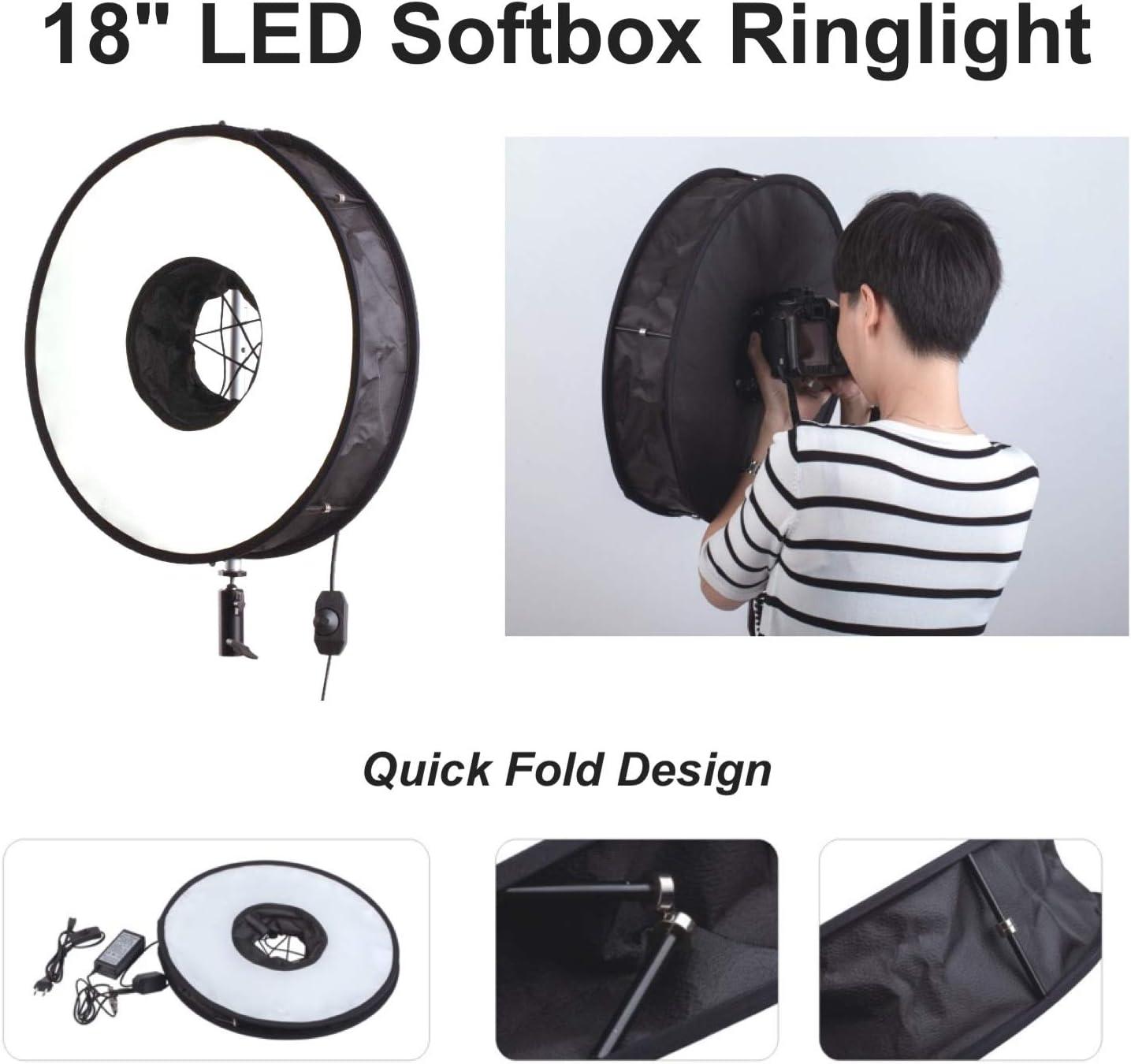 18 LED Ringlight Softbox Foldable Soft Box Photo Video Studio Photography