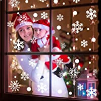 AerWo 144pcs Christmas Snowflake Window Stickers with Unique Round Spot, Snowflake Window Clings Winter Wall Stickers for xmas decorations