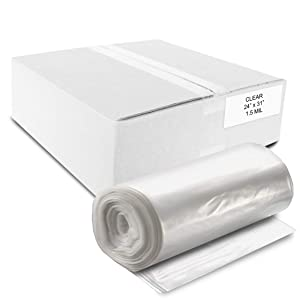 """ALL SUPPLIES SHOP Small, Medium 24"""" X 31"""" Clear Trash Can Liner, 12-16 Gal Garbage Bags, 39 Micron 1.5 Mil Thick for Homes/Offices/Bathrooms/Hospitals/Hotels/Gyms, Indoor/Outdoor Use 500 Per, Roll"""
