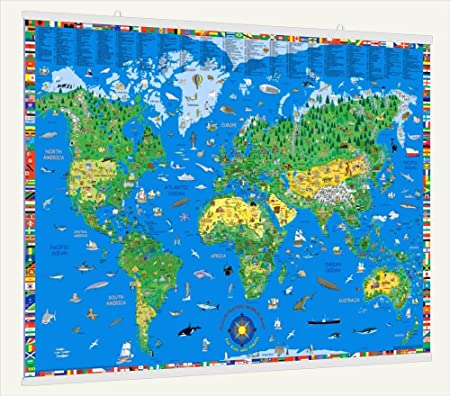 childrens world laminated wall map with fitted poster hangers 40