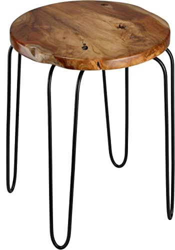 Bare Decor Lacie End Table with Round Solid Teak Root Top