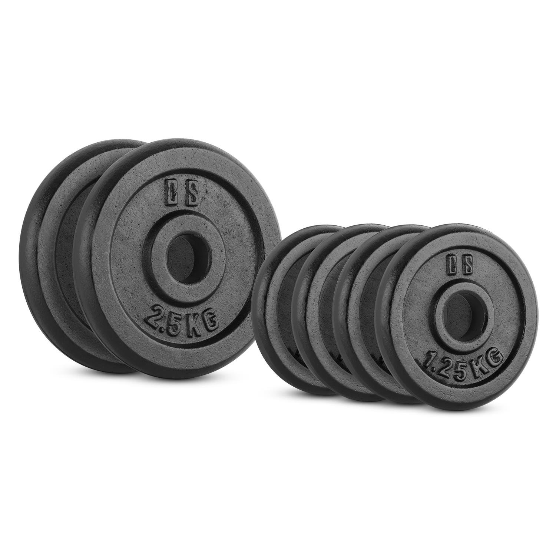 Capital Sports IPB 10 Kg Set juego de discos para mancuerna gimnasio (pesas de 4x1,25kg y 2x2,50kg, orificio de 30 mm, película protectora) - negro: ...