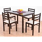 T2A Appyspace Wooden Four Seater Dining Table Set (Mahogany Finish, Brown)