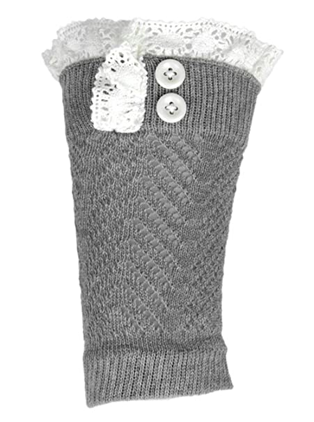 Funky Divas Gray Knit Boot Cuff Topper Liner Leg Warmer With Lace