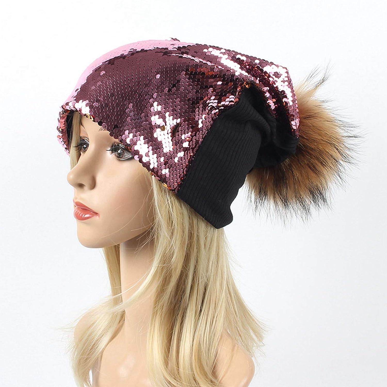 Vic Gray Women Beanies Pom Pom Autumn Winter Trendy Sequin Hats Female Casual Skull Caps