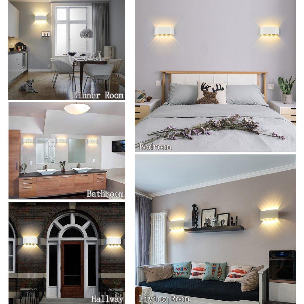 Appliques murales interieur led lampe 8w étanche moderne applique murale en aluminium blanc pour chambre maison couloir salon blanc chaud amazon fr