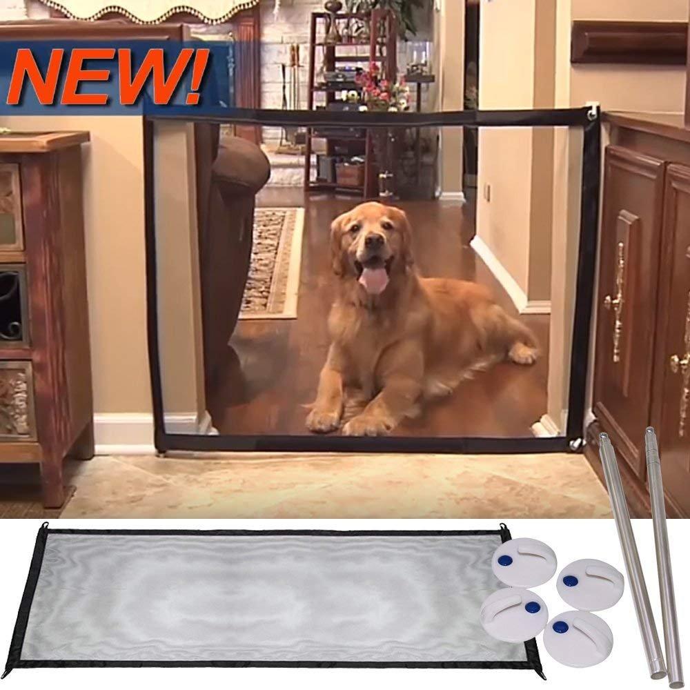 Porte de sécurité magique et portable pour les chiens, barrières de sécurité rétractable / filet de l'isolation pliant pour les petits animaux -- un outil parfait pour l'escalier, la cuisine ou la salle à manger, 110cm x 72cm Lomire