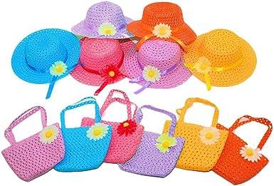 Papyrus Daisy Flower Straw Sun Hat Cap Purse Handbag Set for Kids Girls Beach Garden Tea Party PINCHUANGHUI Sun Hat