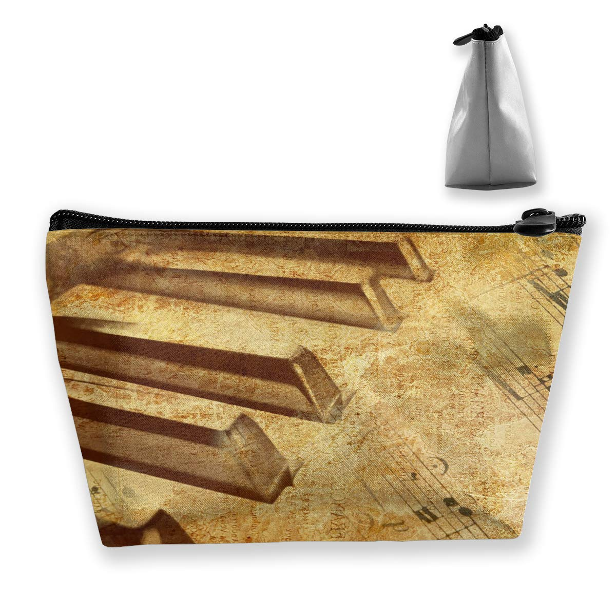 Trapezoid Toiletry Pouch Portable Travel Bag Piano Classic Zipper Wallet
