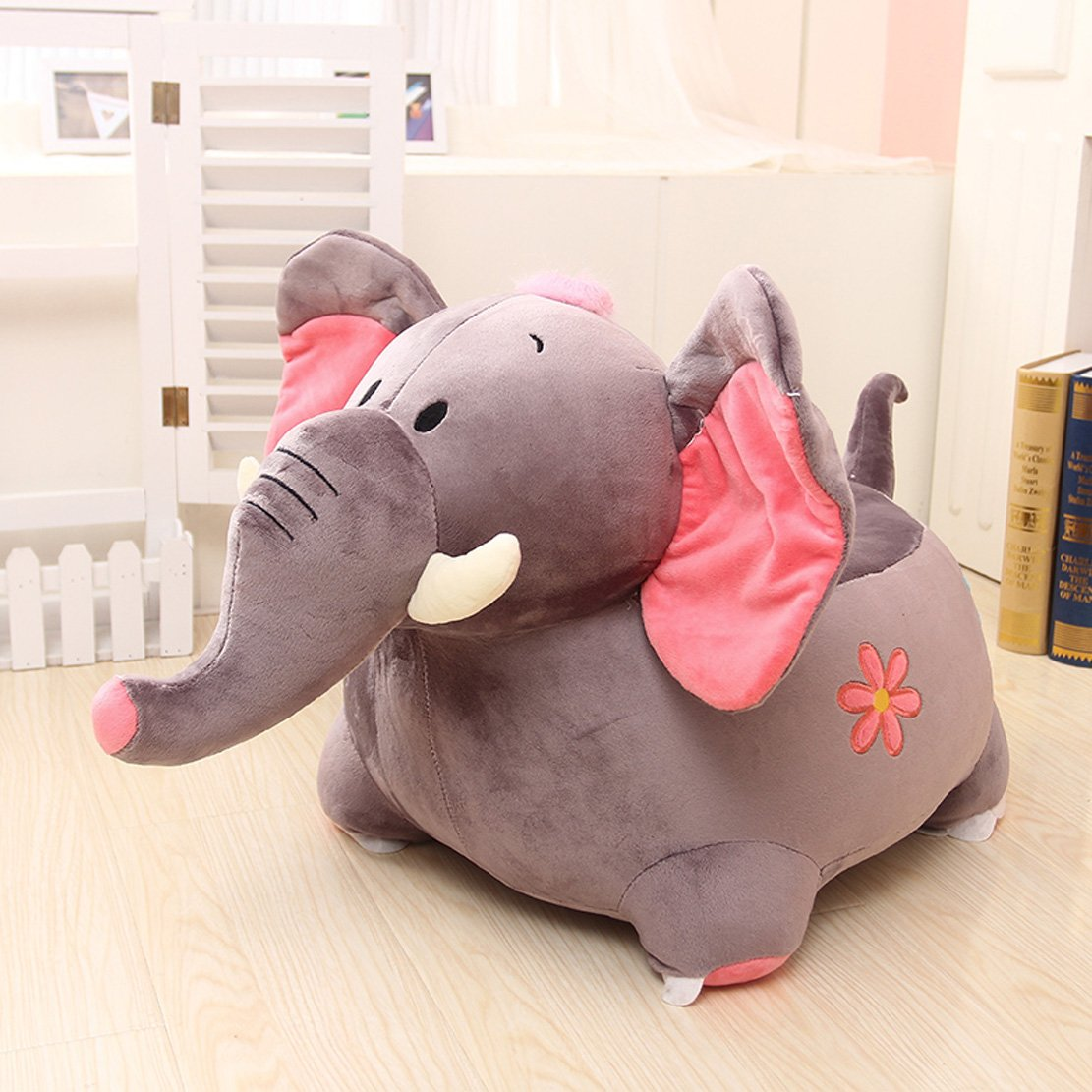 MAXYOYO Kids Plush Riding Toys Bean Bag Chair Seat for Children,Cartoon Cute Animal Plush Sofa Seat,Soft Tatami Chairs,Birthday Gifts for Boys and Girls (gray elephant)