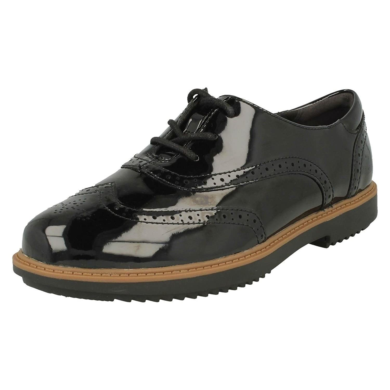 Clarks Raisie Hilde, Zapatos de Cordones Brogue para Mujer 4.0|Negro (Black Patent)