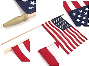 """Super Tough US Stick Flag 12"""" x 18""""- 30"""" Wood Stick with Spear Tip - 12 Pack"""