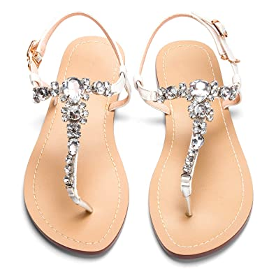 azmodo Women s Summer Sandals Flat Rhinestones Flip Flops Shoes (Plus Size  Available) (US 9caa4d951f53