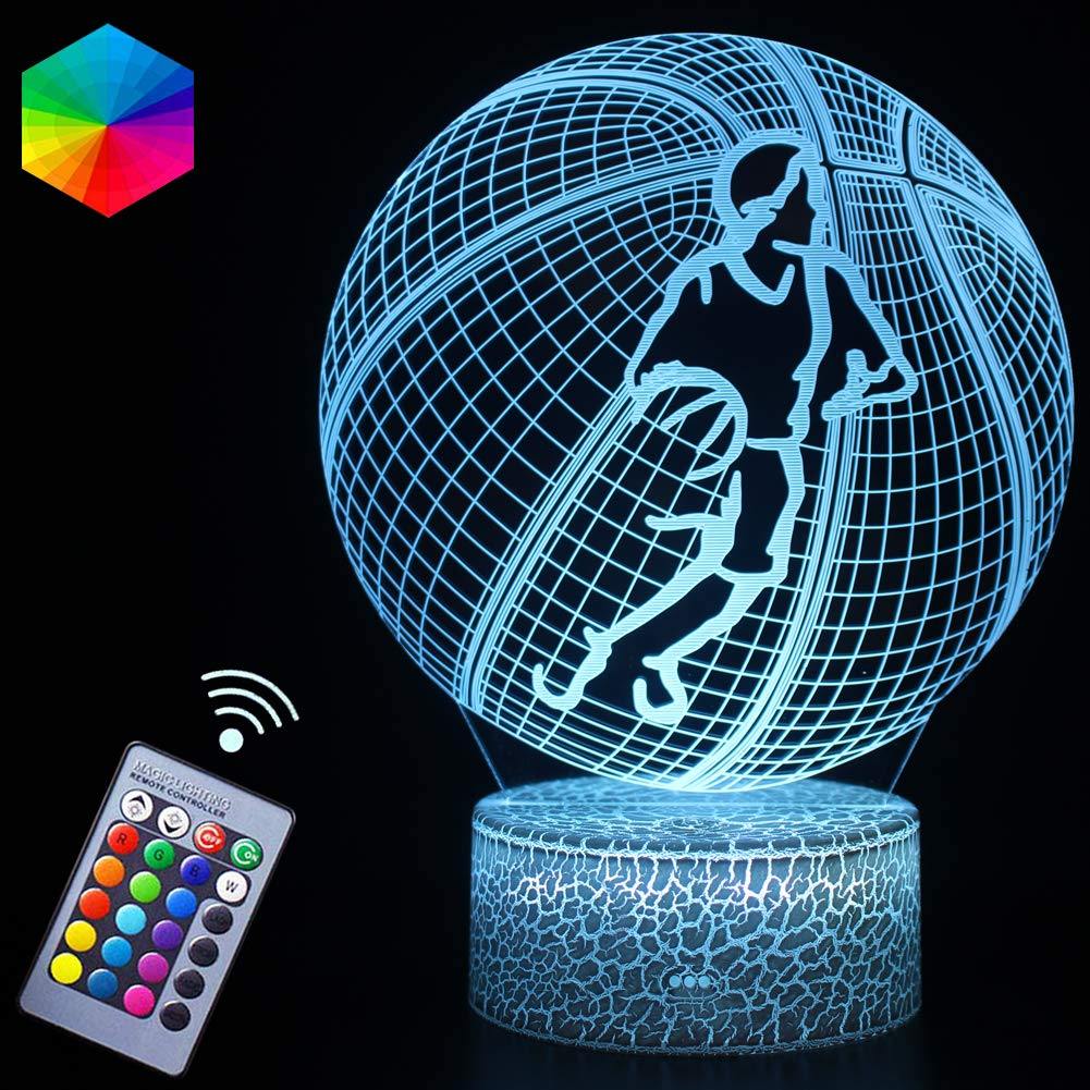 Basketball Player Night Light Gifts 3D Mood Lamp 16 Colors&Dimmable by IR Night Nursery Guidance Light Kids Room Décor Party Gifts Supplies for Kids Teen Basketball Sport Lovers(Cager)