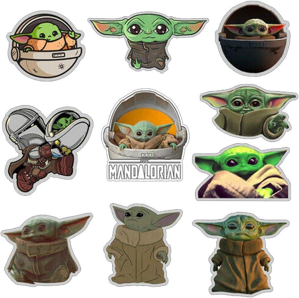 Lonefox 10PCS The Mandalorian Baby Yoda Vinyl Stickers