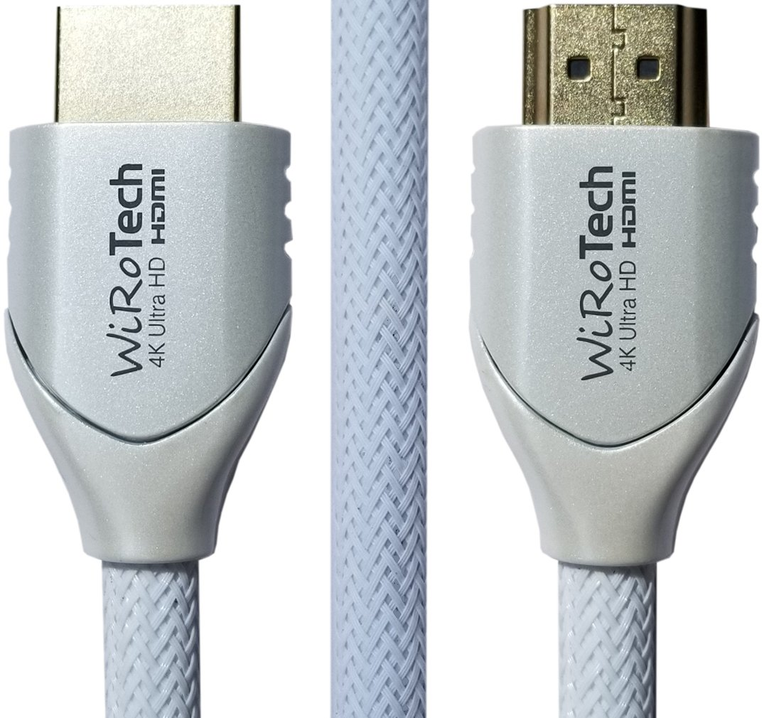 Low Profile HDMI Cable 15ft White - HDMI 2.0 (4K, HDR) Ready - Braided Cable - High Speed 18Gbps - Gold Plated Connectors - Ethernet, Audio Return - Video 2160p