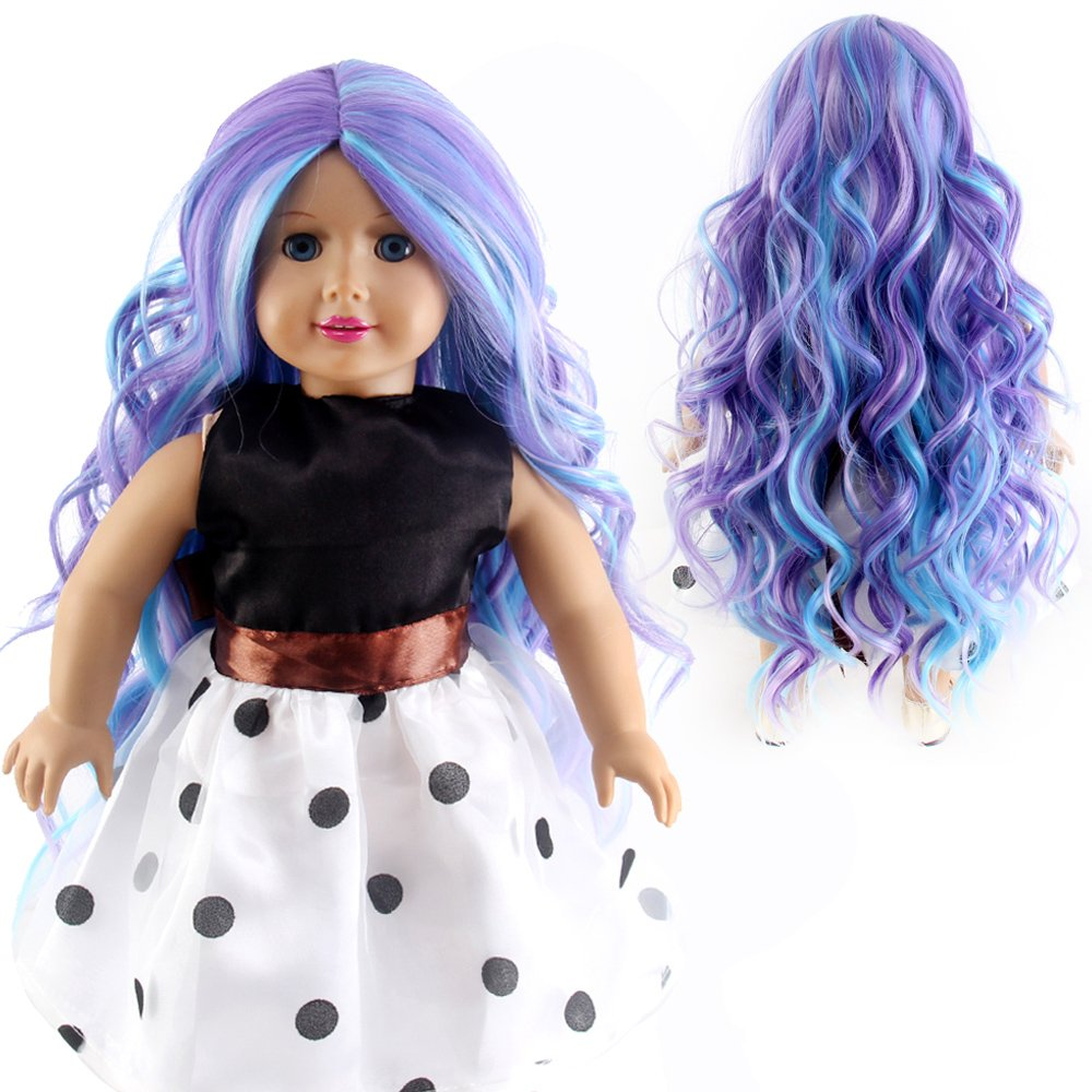 STfantasy Doll Wig for 18 Inches AG OG Doll Girls Gift Ombre Purple Long Curly Synthetic Hair