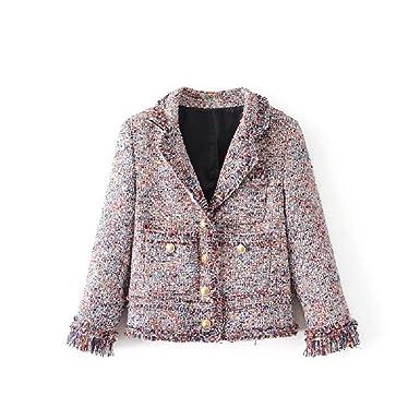 9f0ff341349 Z&S Women's Tweed Frayed Tassels Coat: Amazon.co.uk: Clothing