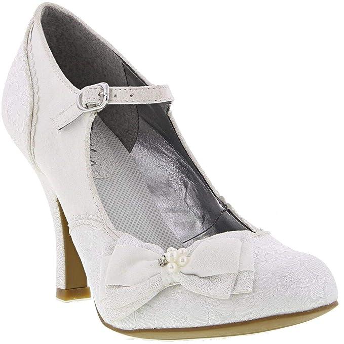 7d7d0111f4cba Ruby Shoo Women's White Silver Brocade Maria Mary Jane Pumps UK 3 EU ...