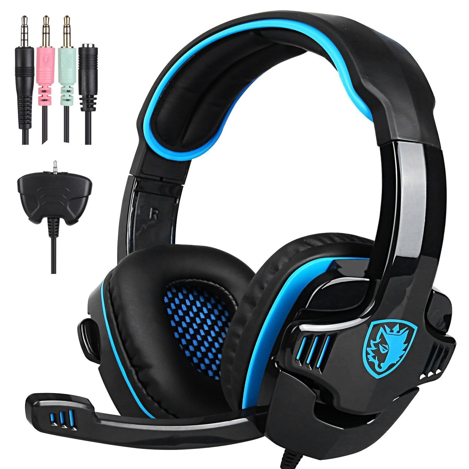 Sades PS4 SA-708GT Gaming Headset Stereo Over Ear Wired 3.5mm Headphone with Microphone for Laptop/PC/Mac/PS4/Ipad/Ipod/Phones/Xbox One ( Blue black) by Sades