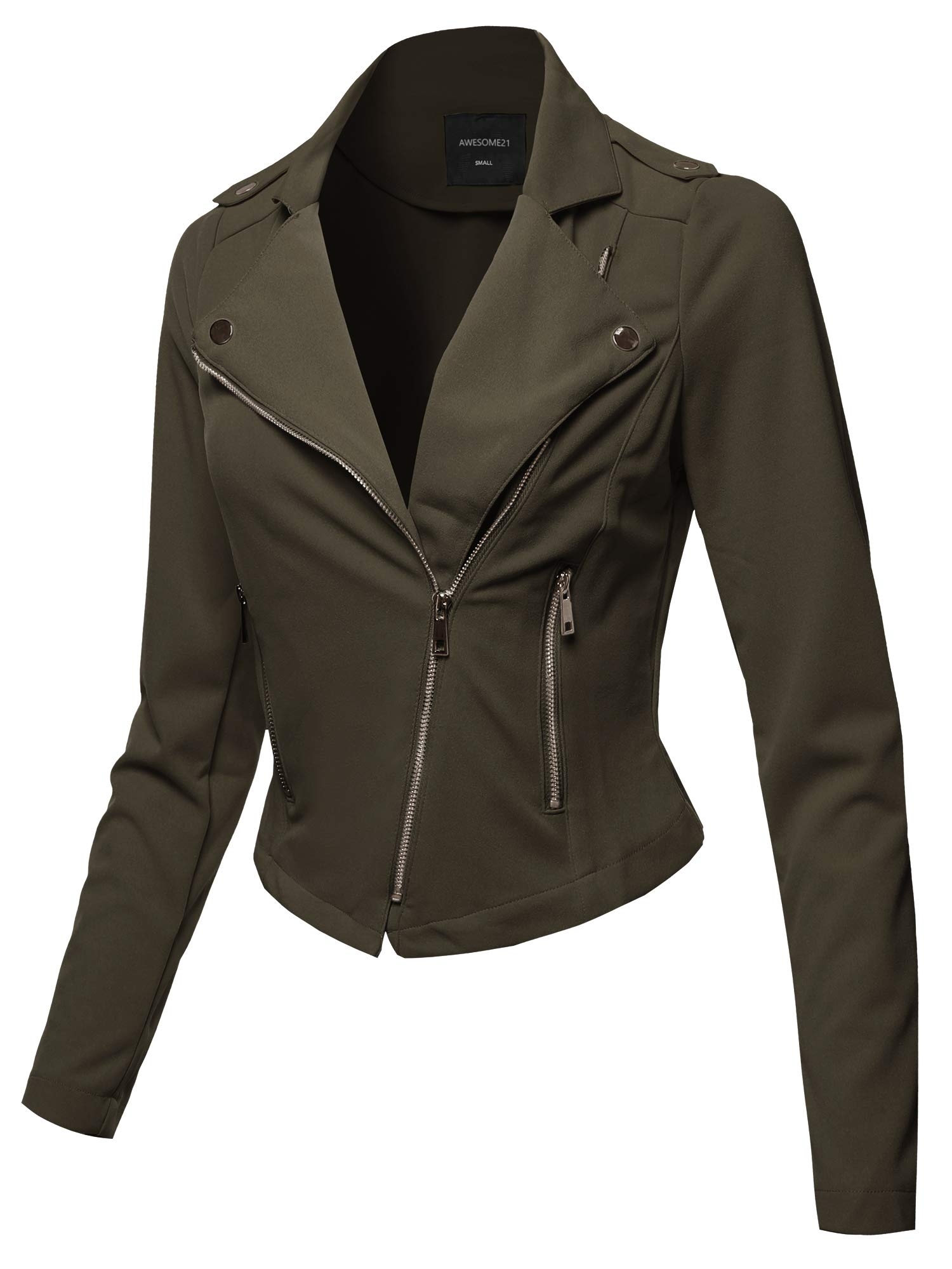 Awesome21 Solid Asymmetrical Zipper Closure Long Sleeve Thin Biker Style Jacket Olive L