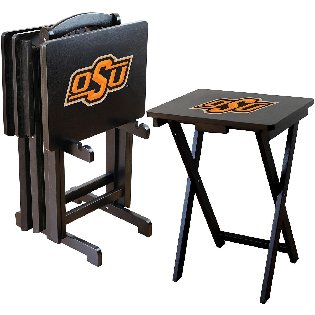 Imperial Officially Licensed NCAA Merchandise: Foldable Wood TV Tray Table Set with Stand, Oklahoma State University Cowboys by Imperial