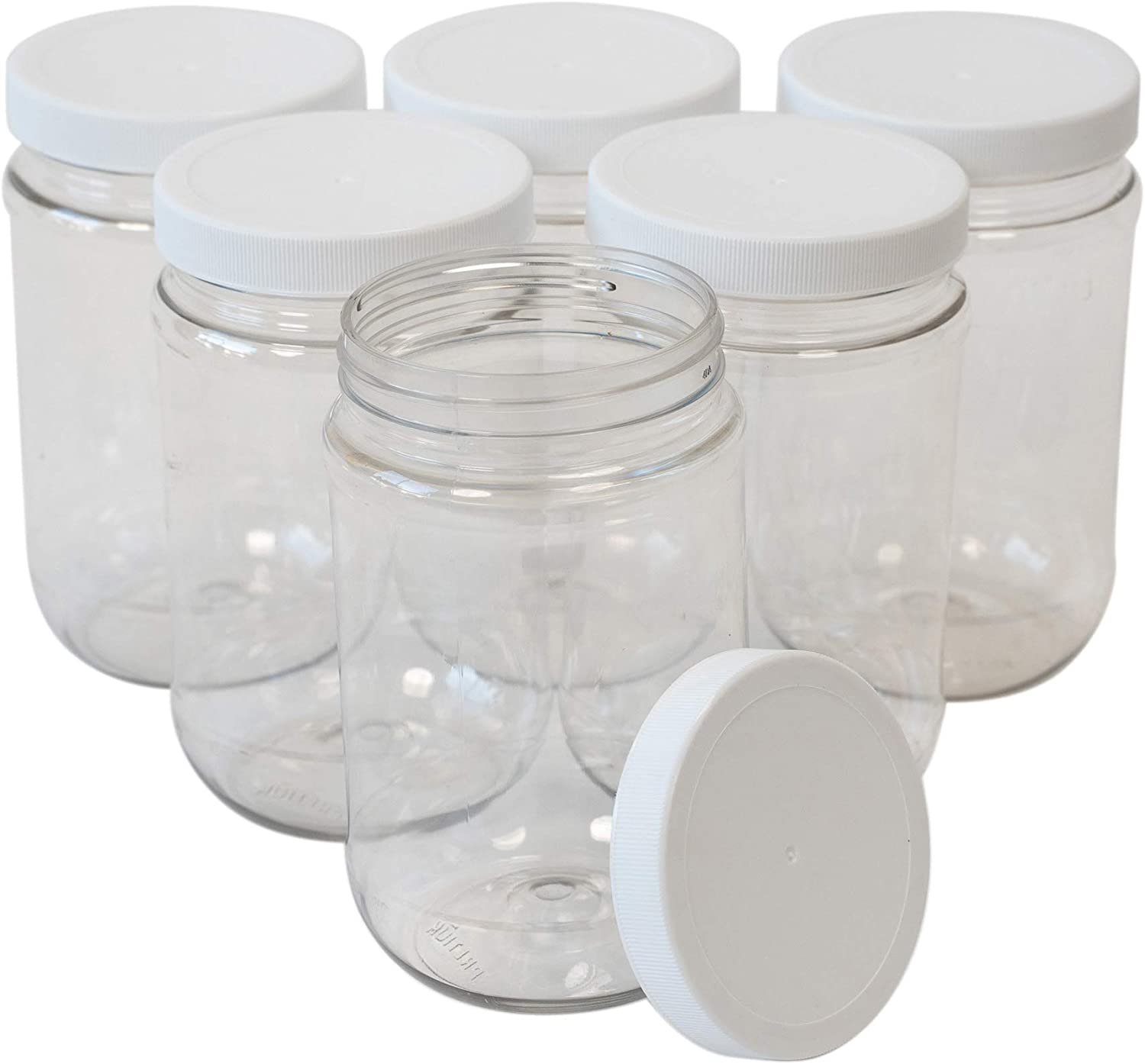 Amazon Com Csbd 16 Oz Clear Plastic Mason Jars With Ribbed Liner Screw On Lids Wide Mouth Eco Bpa Free Pet Plastic Made In Usa Bulk Storage Containers 6 Pack 16 Ounces Kitchen