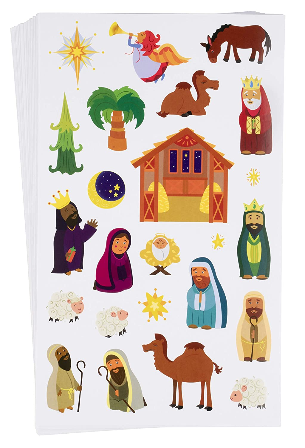 Juvale Nativity Stickers - 864-Count Christmas Stickers, Scrapbook Stickers Kids Christmas Holiday Party Favors, Church, Bible School, 36 Sheets, 8.5 x 5 inches