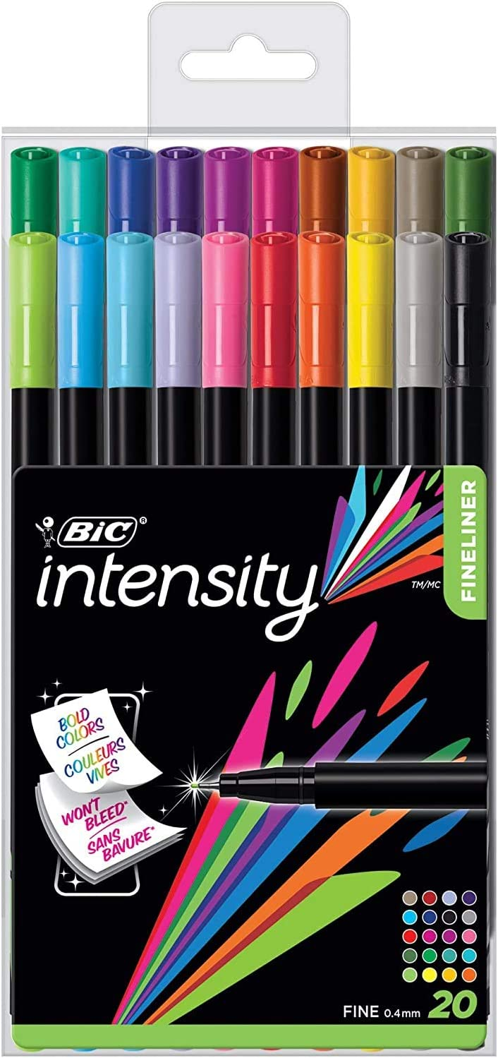 0.4mm BIC Intensity Fineliner Assorted Colors with Reusable Pack 20-Count New