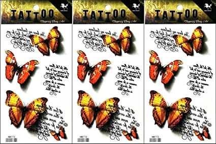 Amazon com: PP TATTOO 3 Sheets New Designs Orange Butterfly