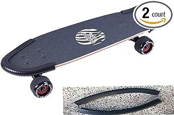 2x Rubber Longboard Skateboard Deck Protection Strip Nose Tail Guard White