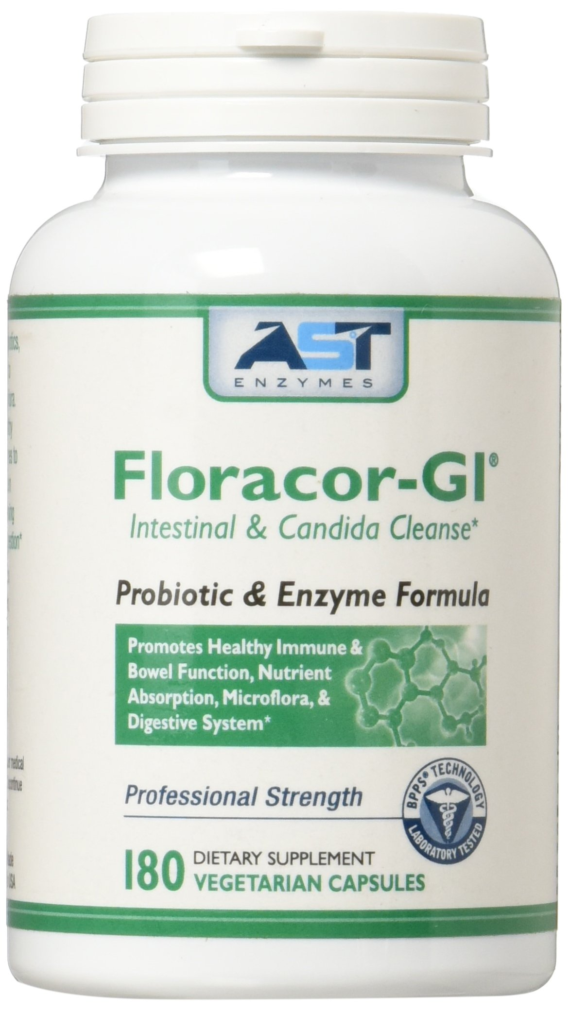 Floracor-GI – 180 Vegetarian Capsules – Intestinal and Candida Cleanse for Maximum Absorption – Natural Premium Probiotic, Prebiotic and Enzyme Formula – AST Enzymes