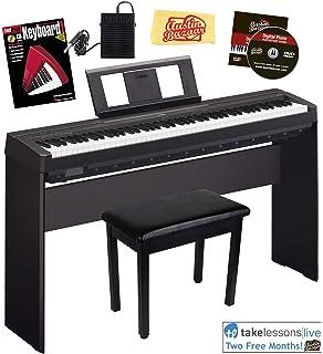 Yamaha P-45 Digital Piano - Black Bundle with Yamaha L-85 Stand,