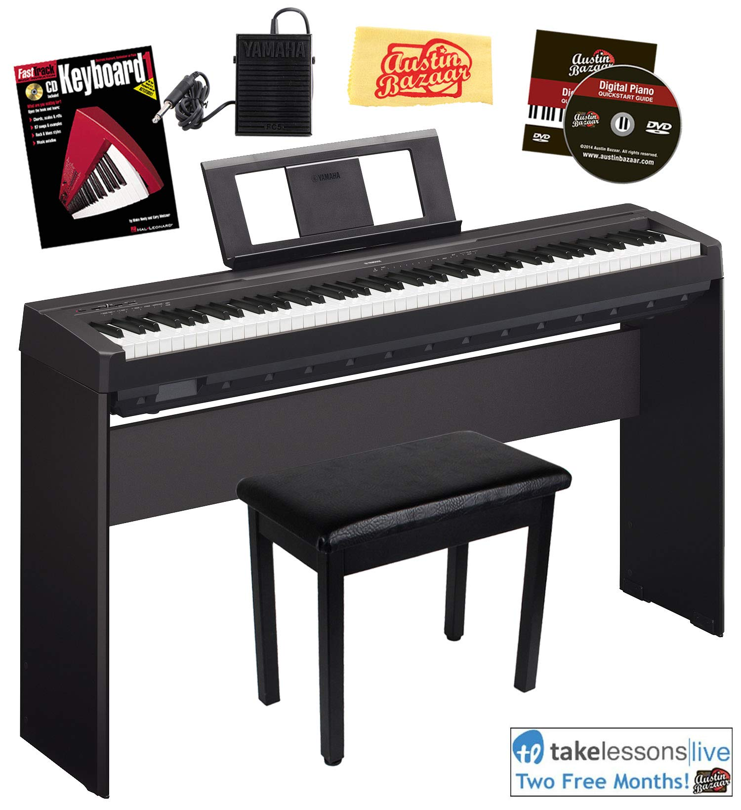 Yamaha P-45 Digital Piano - Black Bundle with Yamaha L-85 Stand, Furniture Bench, Instructional Book, Austin Bazaar Instructional DVD, and Polishing Cloth by YAMAHA