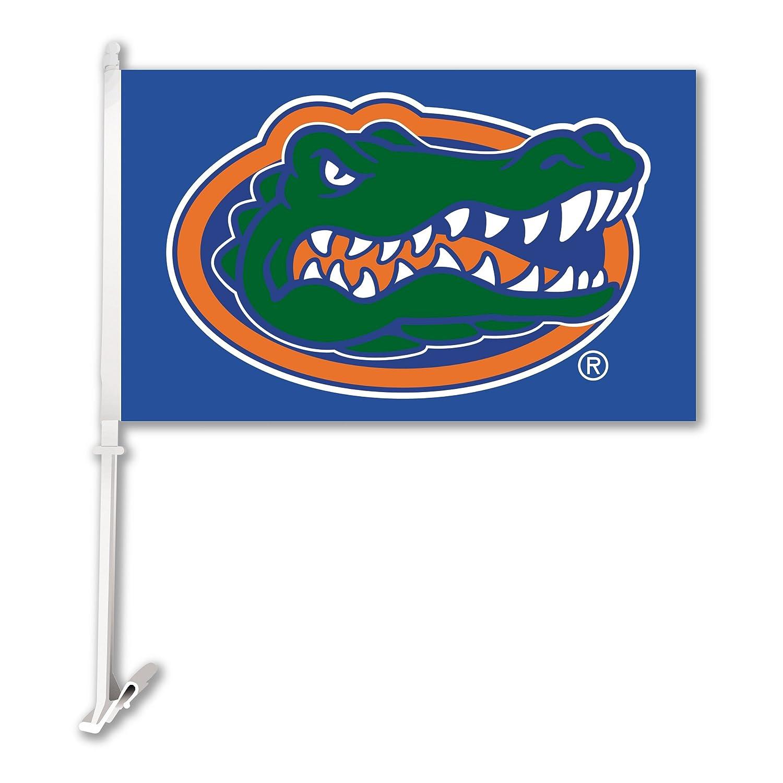 NCAA Florida Gators Car Flag Gator Head with Free Wall Bracket BSI 97309 97109
