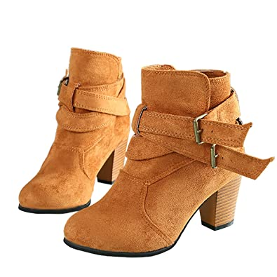 Ladies Chunky Heels Buckle Round Toe Yellow Imitated Leather Boots - 9 B(M) US