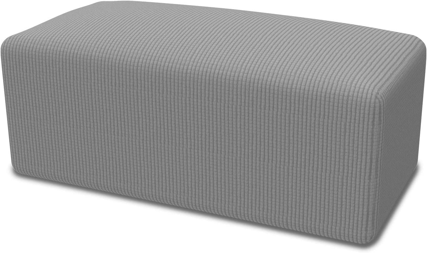 Easy-Going Stretch Ottoman Slipcover Folding Storage Stool Furniture Protector Soft Rectangle slipcover with Elastic Bottom(Ottoman S,Light Gray)