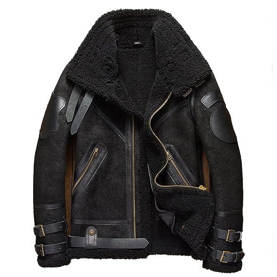 5bafd00c1b6 Denny&Dora B3 Shearling Leather Jacket Mens Shearling Coat Crack Texture  Pilot Leather Jacket (Black,