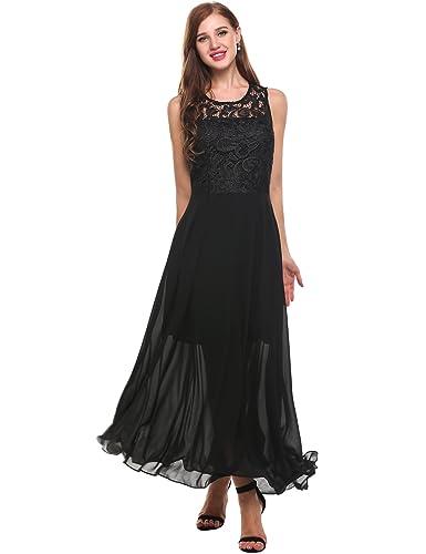 Zeagoo Women's Floral Lace Sexy V Back Chiffon Bridesmaid Maxi Long Dress