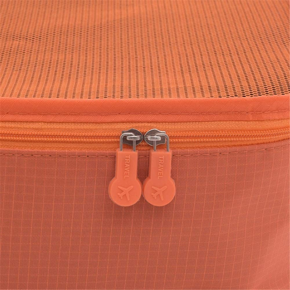 Wagsuyun 6 Set Packing Cubes Travel Luggage Packing Organizers with Laundry Bag Color : Orange