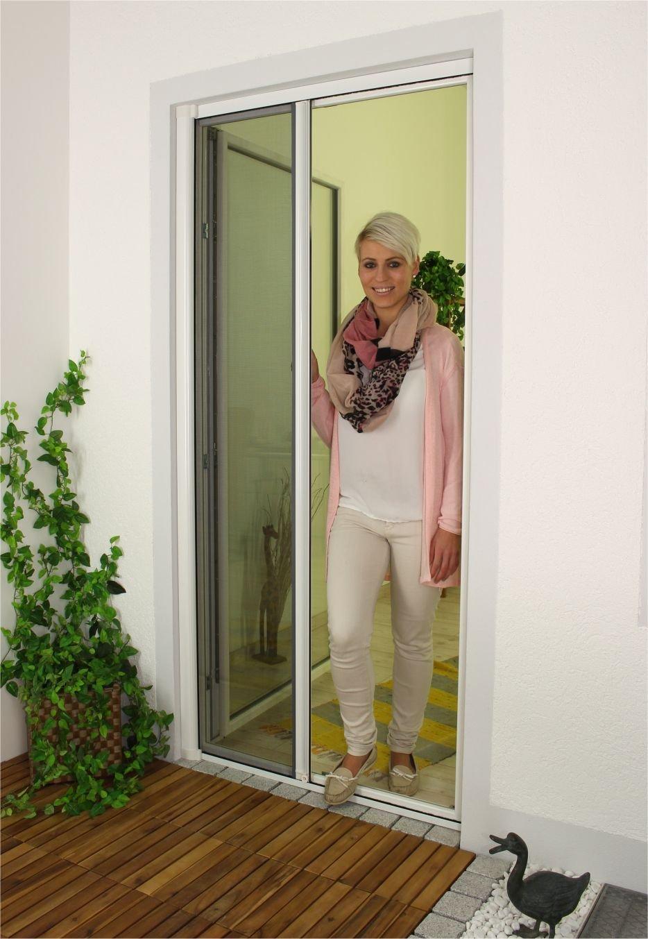 1PLUS Premium Aluminium Insektenschutz Rollo für Türen in verschiedenen Größen und Farben Farben (120 x 225 cm, Weiß)