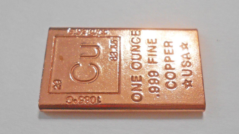 /One Once Barre/ /28,3/gram Block/ Fine .999/lingot den cuivre pur/ /lingot/ pouce //à collectionner Element Design/ /Dimensions 1/x 1.625/X 0.0625