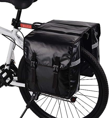 BAIGIO Alforjas para Portaequipajes de Bicicleta Bolsas Alforjas Traseras para Bicicletas MTB Bicicleta Carretera Bolsas Sillines Bolsa de Ciclismo con Doble Bolsa Lateral para Asiento Trasero